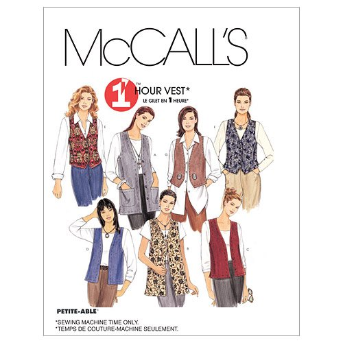 McCall's 1 Hour Vest Pattern 2260 Misses Unlined Vests in Two Lengths Size S 8-10
