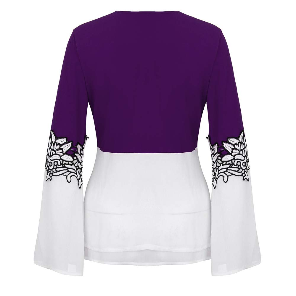 5e575727110c VESNIBA Women's Casual Applique Flowy Chiffon V-Neck Long Sleeve Blouse  Tops: Amazon.ae: Dubocu