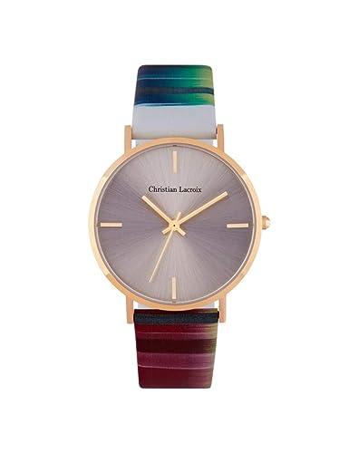Christian Lacroix - Reloj Mujer - Caja Dorado - Piel, Reloj Plata: Amazon.es: Relojes