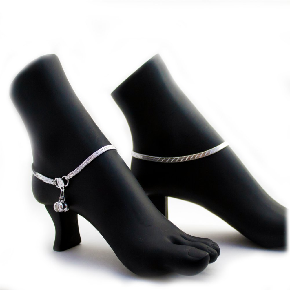 Ethnic Pakistani Indian Silver Tones Chain Payal Bollywood Anklet Pair with Loud Bells B072K9CN75_US