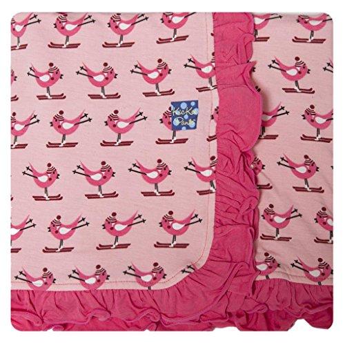 Kickee Pants Baby Girls Ruffle Blanket- Lotus Snow Bird, One Size