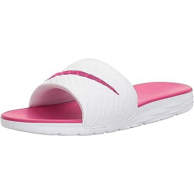 NIKE Women's Benassi Solarsoft Slide Sandal, White/Fire Berry, 8 B(M) US   Sport Sandals & Slides