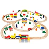 Best Choice Products 100pc Hand Crafted Wooden Train Set Triple Loop Railway Wood Track Kids Toy Play Set