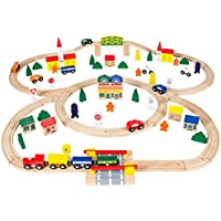 Best Choice Products 100pc Hand Crafted Wooden Train Set