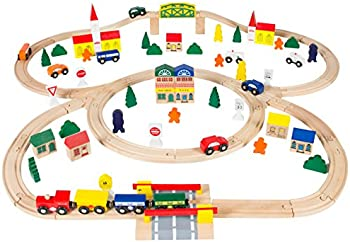 Best Choice Products 100-Pc. Wooden Train Set