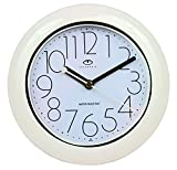 Telesonic Water Resistant Wall Clock with Quiet Sweep Movement - White