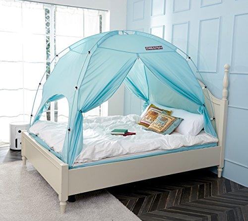 - BESTEN Floorless Indoor Privacy Tent on Bed with Color Poles for Cozy Sleep in Drafty Rooms (Full/Queen, Blue Mint(CP))
