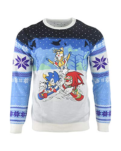 Sonic the Hedgehog Ugly Christmas Sweater Skiing for Men Women Boys and Girls - M ()