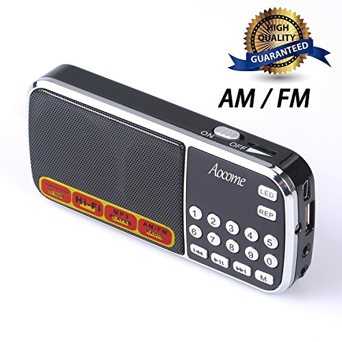 Aocome Portable Mini AM FM Radio Clear Speaker Music Player, Micro SD/TF Card Slot, USB Charging Cord, Rechargeable Li-ion battery, Earphone Jack (BM8 Black) (Radio Rechargeable)