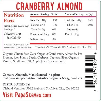 Papa Steve's No Junk Raw Protein Bars, CranBerry Almond, 2.2 Oz, 10 Count by Papa Steve's Raw Foods