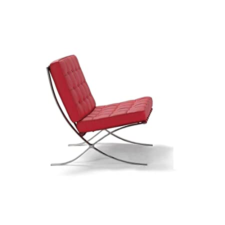 ARTIS D COR Premium Lounge Chair Made with Top Grain Italian Leather – Red