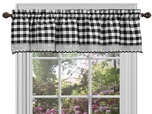 "Sweet Home Collection Buffalo Check Gingham Kitchen Curtain Valance, 14"" x 58"", Black/White"