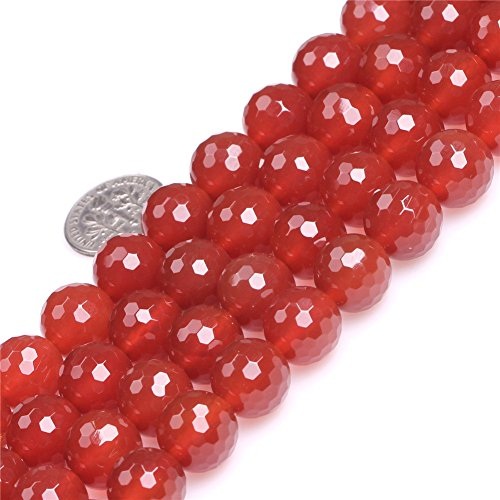 Carnelian Beads for Jewelry Making Natural Semi Precious Gemstone 12mm Round Red Faceted Strand 15