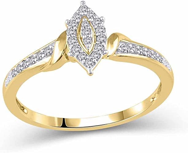 1//10 cttw, G-H,I2-I3 Size-5.5 3 Diamond Promise Ring in 14K Yellow Gold