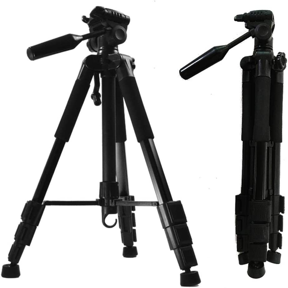 Black YonCog Tripod Durable Multi-Function Tripod Aluminum Lightweight Tripod with Holder Mount for Camera and Smartphones Color : Black, Size : One Size