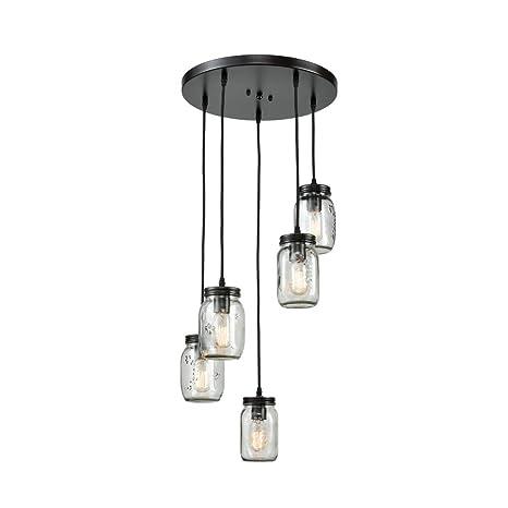 EUL Mason Jar Kitchen Island Lighting 5-Light Glass Jar Chandelier ...