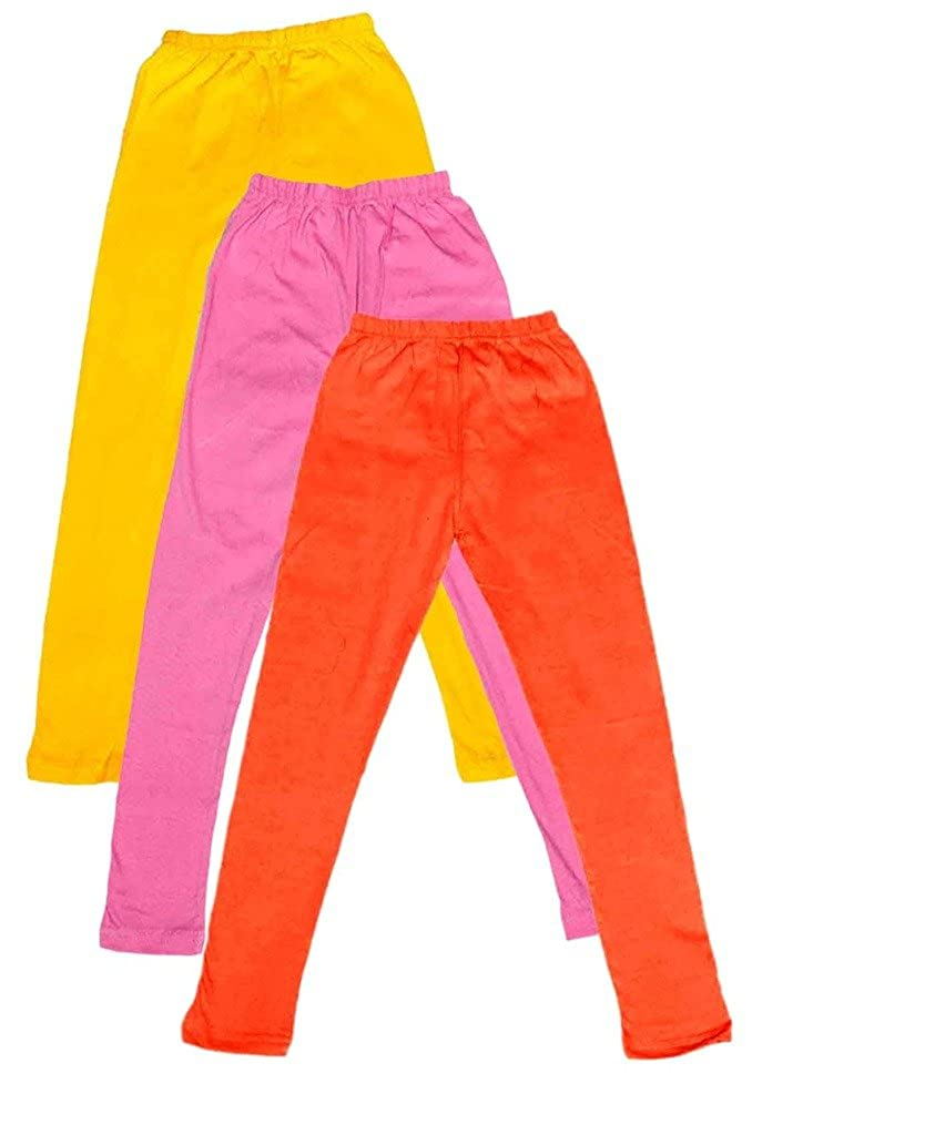 -Multiple Colors-17-18 Years Indistar Big Girls Cotton Full Ankle Length Solid Leggings Pack of 3