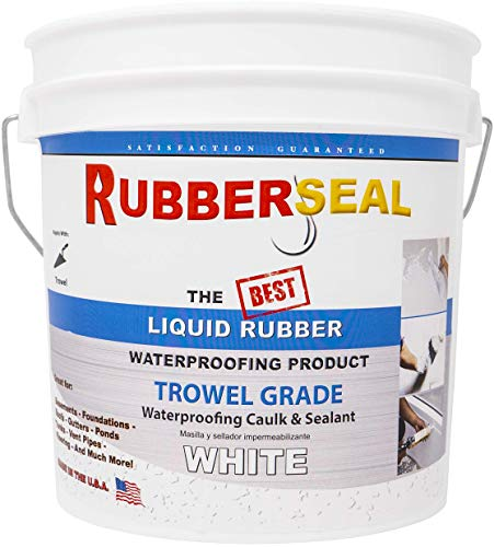 Rubberseal Liquid Rubber Trowel Grade (Thick) Waterproofing Caulk & Sealant - 1 Gallon WHITE ()