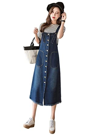 f770721f9d Drasawee Women's Loose A Line Denim Overall Dress Suspender Jumper Jean  Skirt Plus Size with Pocket