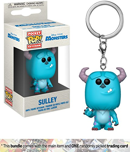 Funko Sulley  Monster Inc  X Pocket Pop  Mini Figural Keychain   1 Classic Disney Trading Card Bundle  31751