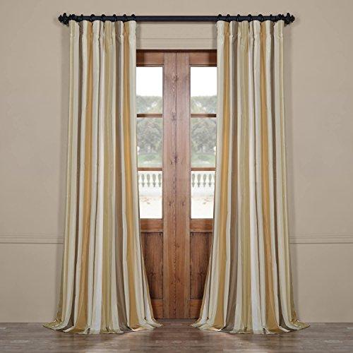 Half Price Drapes Pts-SLK940-108 Luxury Faux Silk Stripe Curtain, 50 x 108, Norfolk (Luxury Silk Stripe)