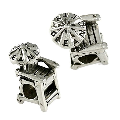 Ocean City Lifeguard Chair with Umbrella - 925 Sterling Silver Charm Bead - Perfect Summer Beach Vacation Travel Souvenir and Gift ()