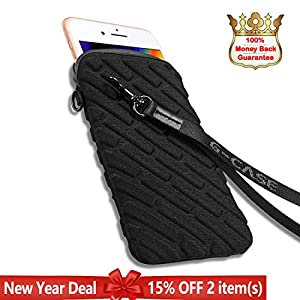 "iPhone 8 Plus/7 Plus Case, G-CASE Anti-Shock Protective Pouch Holster,Velcro Closure,Removable Strap Soft Case for iPhone 8 Plus/7 Plus,Samsung S8/S7 Edge(All 5.8"" or Below Phone Models)-Black Large"