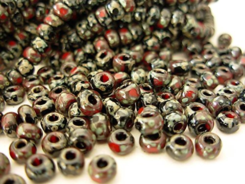 (6/0 Czech 3 Cut Seed Beads- Red n Black Picasso (1/19