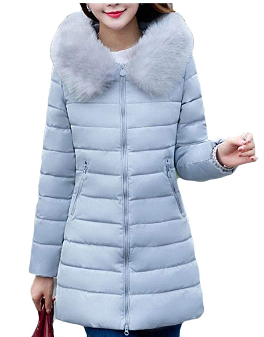 Gery maweisong Women's Thick Hooded Down Jacket Coat Faux Fur Long Overcoat Outwear