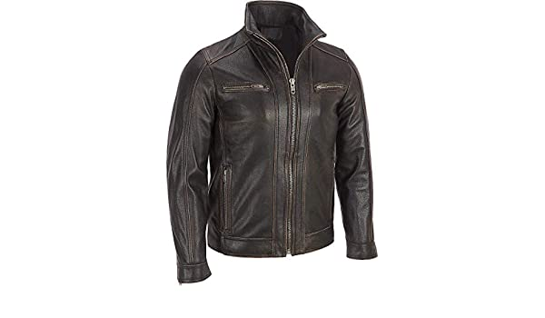 Mens Faded-Seam Bike Rider Cafe Racer Black Real Sheepskin Leather Jacket