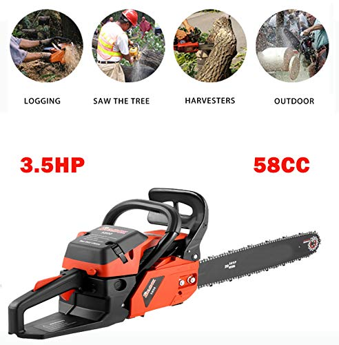 Anhoney 20 Inch Gas Chainsaw 58CC 2 Strokes Gas Powered Chain Saw Handle Chain Saw Rancher Outdoor Garden Yard Use with Tool Kit