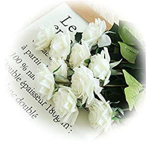 cn-Knight Artificial Flower 12pcs 17'' Artificial Rose Blossom with Leaves Gel Coated Silk Flower for Wedding Bridal Bouquet Bridesmaid Home Décor Office Baby Shower Centerpiece,White 35