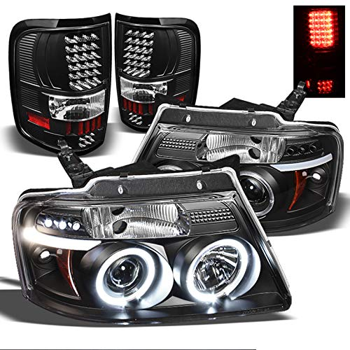 Xtune for 2004-2008 Ford F150 Black Twin Halo LED Projector Headlights + LED Tail Lights Set 2005 2006 2007
