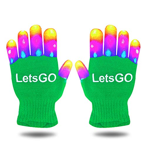 Price comparison product image OuWen Popular Hottest Top Toys for 4-10 Year Old Boys, Amazing Colorful Flashing Novelty Finger Light Gloves Presents Birthday Party for 4-10YearOldBoys Kids Green OWSUGT01