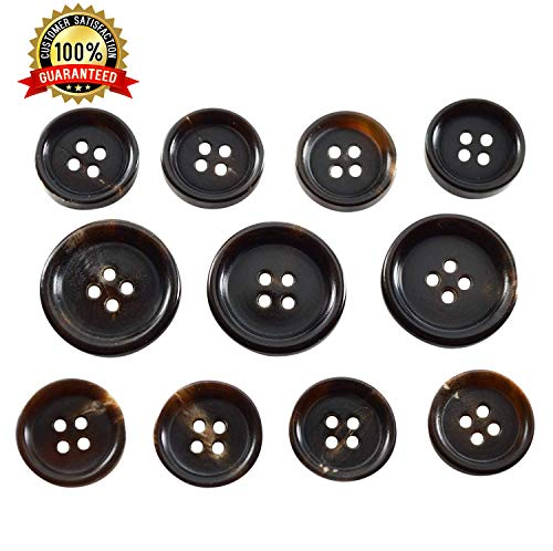 - Set of 11 Premium Genuine Dark Espresso Brown Buffalo Horn Buttons for Sport Coats, Blazers, and Suit Jackets