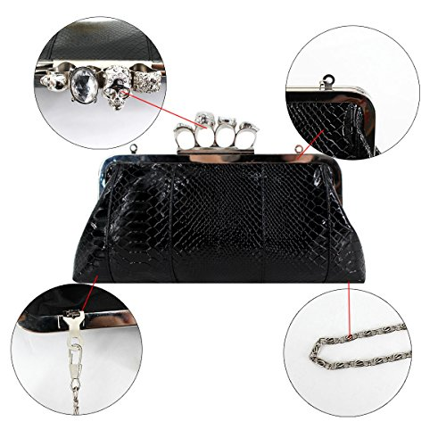 Skull Shoulder PU Party Punk Clutch Style Handbag Leather Bag Bag Chain Women with Ring Knuckle Evening Black Millya 5wqIn8P6n