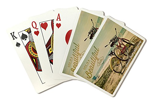 Seaside Park, New Jersey - Life is a Beautiful Ride - Bicycles and Beach Scene - Photograph (Playing Card Deck - 52 Card Poker Size with Jokers)