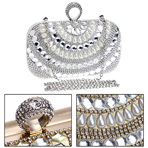 Wedding Purse Chain Evening Bags Dress For Womens Pearls Clutches Handbags Silver YATzEqXwx