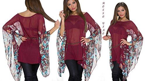 IL BAZAR - Camisas - Floral - Manga larga - para mujer Rojo/Vino