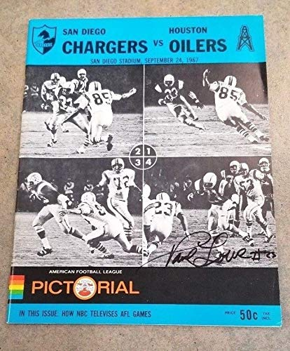 AFL FOOTBALL PROGRAM OILERS AT CHARGERS - 1967 - AUTOGRAPHED BY PAUL LOWE (Best Ebay Listing Program)