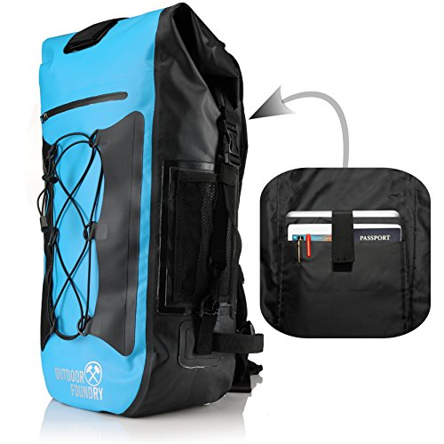 Dry Bag Liner (Outdoor Foundry 100% Waterproof Backpack - Dry Bag Closure - Optional Laptop Sleeve - 35L - Padded Back and Straps (Blue - With Laptop Sleeve))