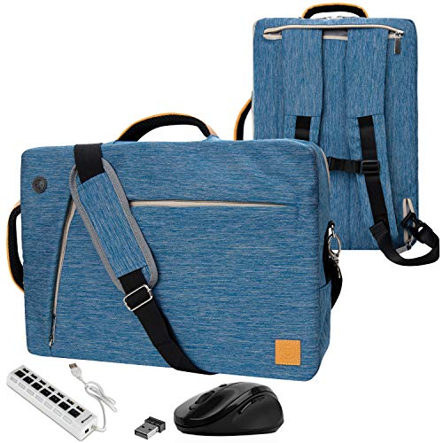 VanGoddy Convertible Blue Laptop Bag 17.3 inch with Mouse and USB Hub Fit for MSI Raider, Mobile Workstation, X Leopard, Apache Pro, Stealth Pro, Prestige, Dominator, Titan 17.3