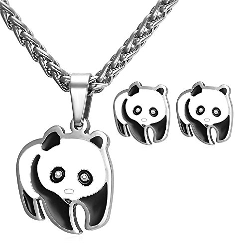 U7 Women Teen Girls Cute Panda Bear Pendant Necklace Earrings Set - Stainless ()