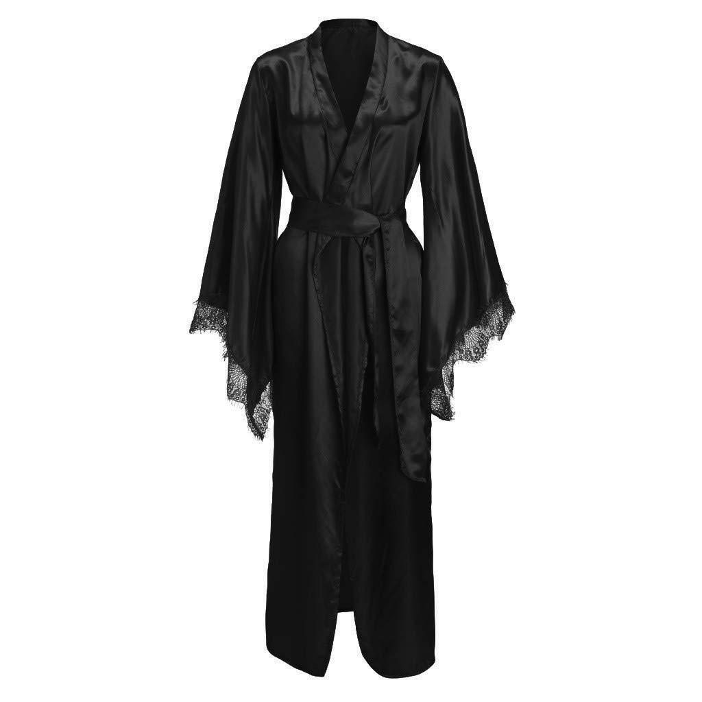 LOPILY Damen Morgenmantel Schlafanzug mit G/ürtel Robe Bademantel Dessous Blumenspitze Saum Satin Kimono Lange Nachtw/äsche Pyjamas Sleepwear