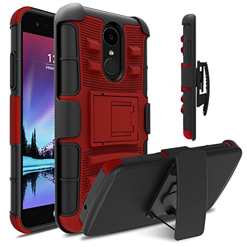 LG Fortune Case, LG Phoenix 3 Case, LG Risio 2 Case, Venoro Heavy Duty Armor Holster Defender Full Body Protective Hybrid Case Cover with Kickstand and Belt Swivel Clip for LG K4 2017 (Red/Black) (Lg Lucid 2 Phone Cases)