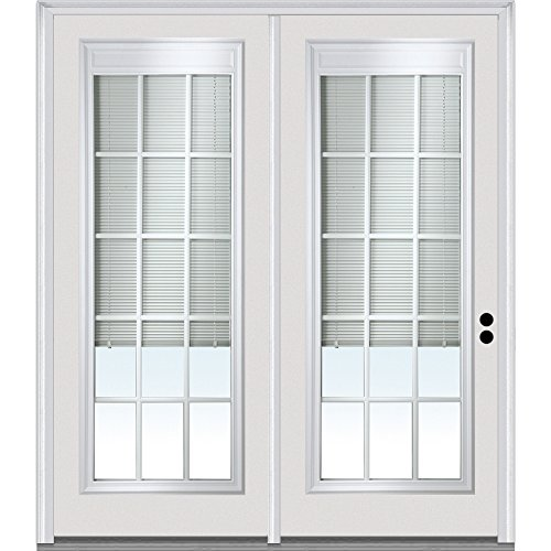 National Door Company Z001661L Steel, Primed, Left Hand In-Swing, Center Hinged Patio Door, Clear Glass Internal Blinds and Grilles, 72
