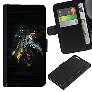 Billetera de Cuero Caso Titular de la tarjeta Carcasa Funda para Apple Iphone 6 PLUS 5.5 / Abstract Sci Fi Art / STRONG