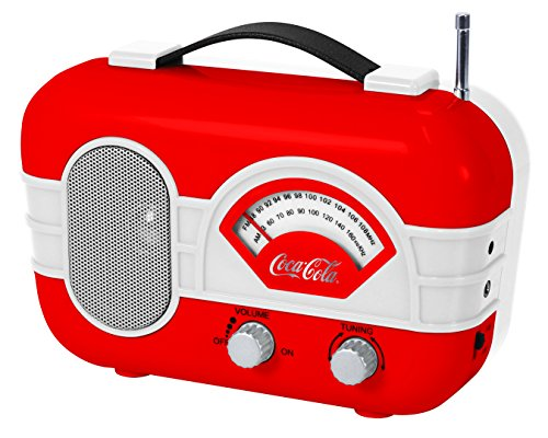 Coca-Cola Retro Desktop Vintage Style Am/FM Battery Operated Radio with Auxillary Input Red/White (Radio Coke)