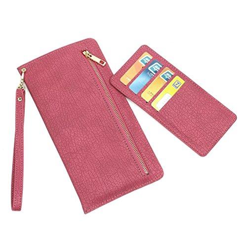 JIALUN-carcasa de telefono Cubierta multifuncional universal de la caja del teléfono móvil con las ranuras para tarjeta de la carpeta del acollador para Apple IPhone6s más ( Color : Brown , Size : 20. Rose