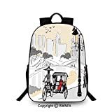 Backpack for Kids,Sketch Singapore City Silhouette with Local People Asian Town Illustration School Backpacks For boys Light Grey Cream Red